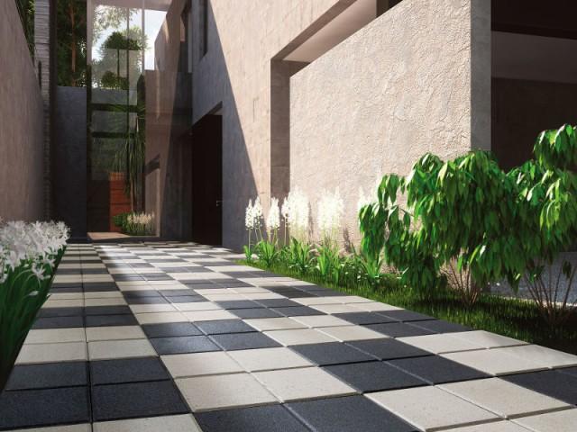 Une allée en pavés damier pour un jardin original - Une allée bien structurée pour mon jardin