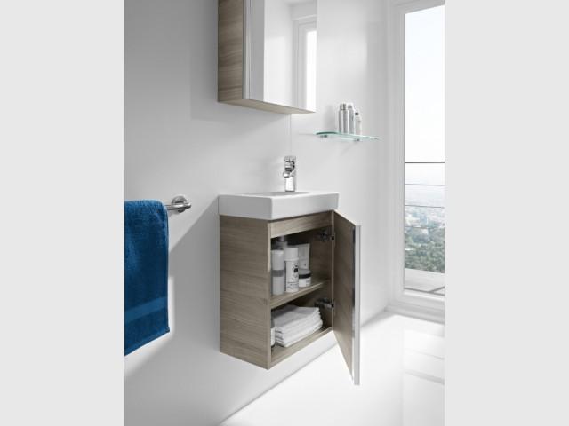 Petits espaces 10 meubles sous vasque pour une petite for Petit meuble sous vasque salle de bain