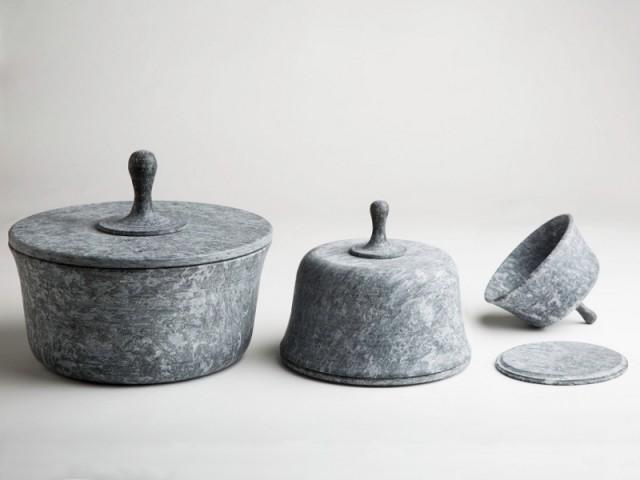 Soapstone pot set by Roberto Lucchinetto & Lorenzo Damiani