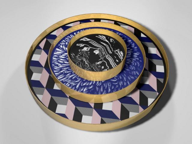 Set of trays scagliola by Atelier Bianco Bianchi & Studio Blanco