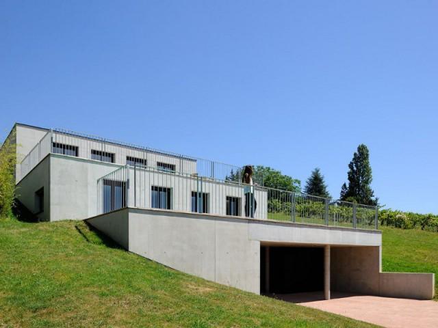 Une maison construite comme un escalier  - Une maison en béton grimpe au cœur des vignes
