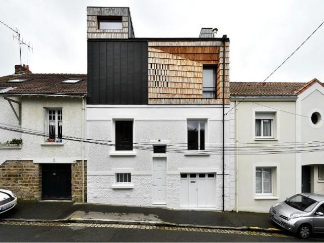 Maison PJ : un bardage bois... qui rappelle la brique - Maison PJ à Nantes