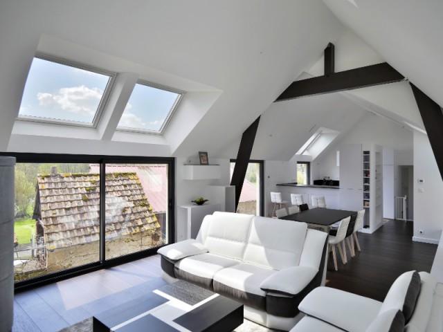 Un faux plafond pour différencier la cuisine du salon  - Une grange alsacienne rénovée