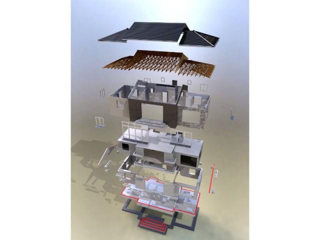 Maquette numérique vue éclatée d'une maison