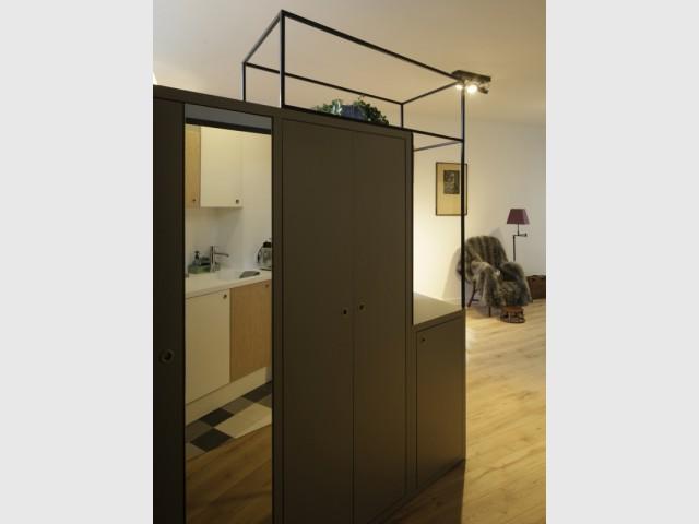 Un espace de rangement métallique pour un effet végétal - Jeux de niveaux pour un studio parisien