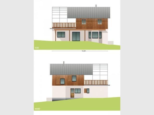 Maison avec façade fermée au nord
