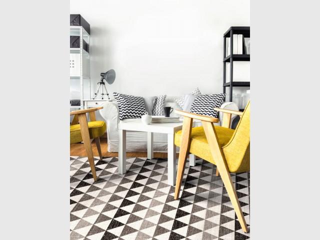 Un tapis graphique pour un salon contemporain