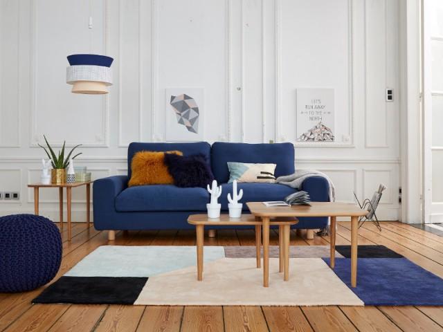 Un tapis façon Mondrian pour un salon scandinave