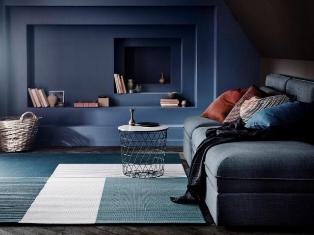 Un tapis façon 3D pour un salon tout en volume
