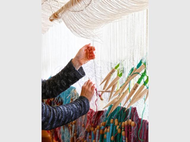 Détail d'une tapisserie, manufacture des Gobelins