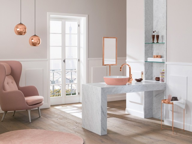 Une vasque rose pour une salle de bains luxueuse - Inpiration couleur : Osez le rose !