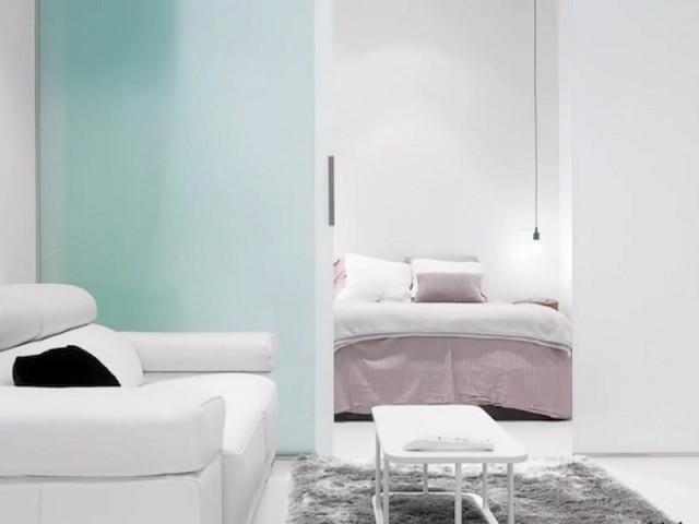 Des portes vitrées entre la chambre et le salon