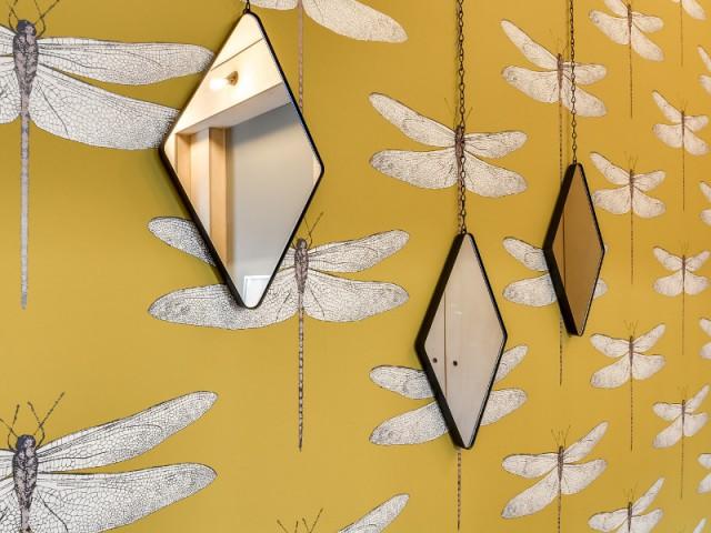 Des miroirs argentés sur les murs de la chambre