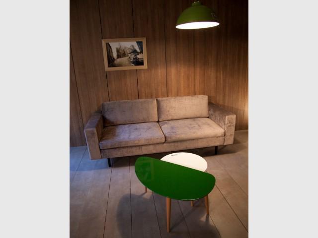 Un canapé en velours brun pour un salon boisé