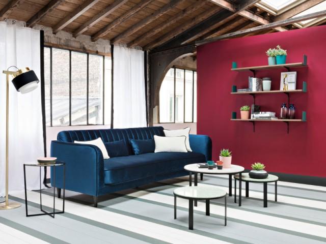 Un canapé en velours bleu roi pour un salon tendance