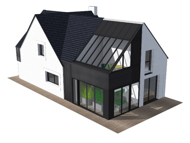 Un pavillon transformé en maison contemporaine