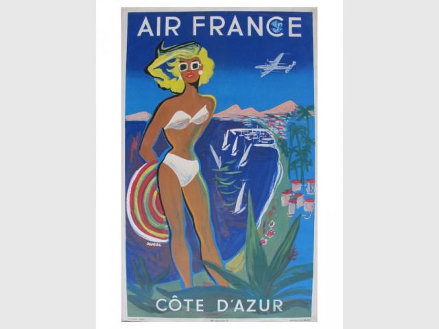 Affiche vintage Air France par Auriol de 1953