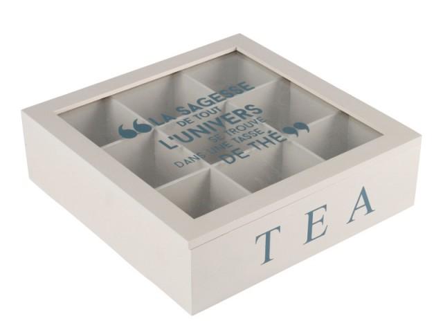 Une boîte à thé 9 compartiments : 10 €