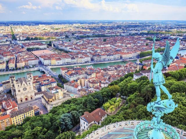 Vue aérienne de la ville de Lyon