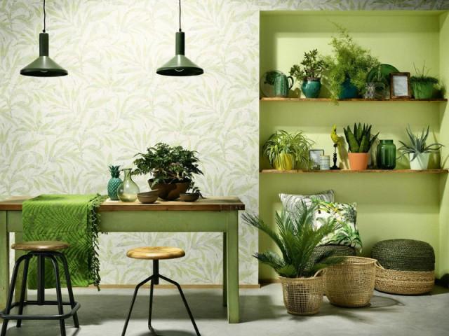 Couleur de l 39 ann e osez le vert greenery de pantone dans for Papier peint tendance salle a manger