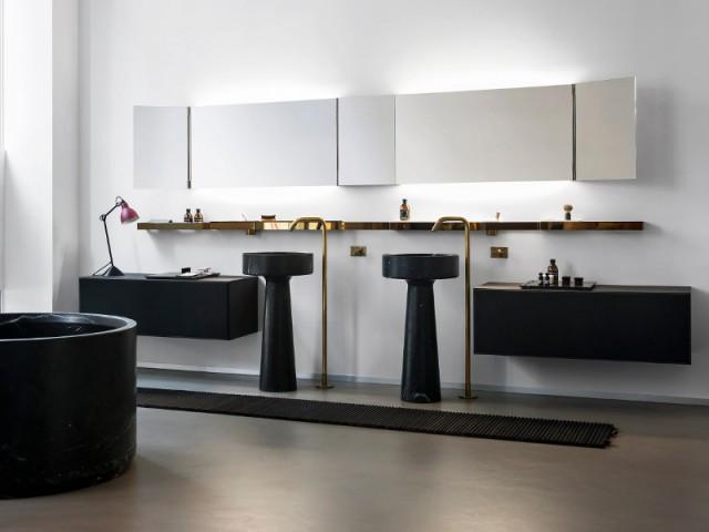 Une salle de bains qui se distingue avec du marbre noir - Le marbre fait son come-back dans les salles de ba