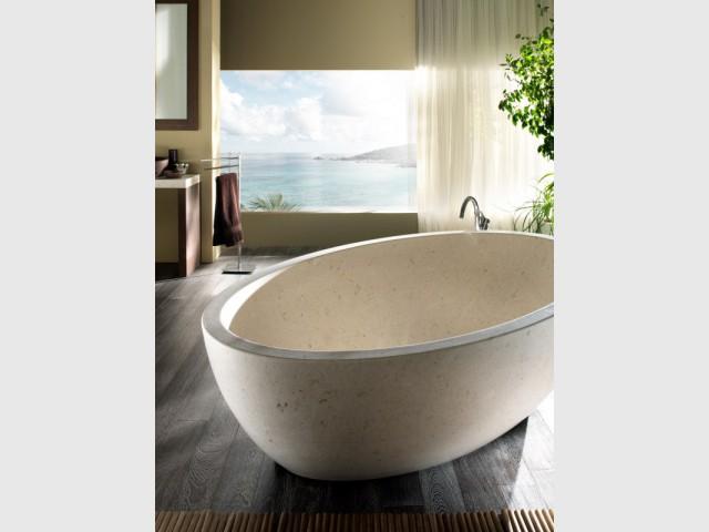 Une salle de bains qui opte pour une baignoire en marbre - Le marbre fait son come-back dans les salles de ba