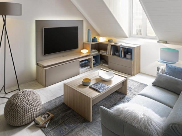 Un meuble télé en L pour un salon original