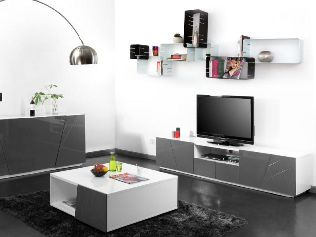1 meuble t v pour sublimer votre salon 10 photos pour vous inspirer. Black Bedroom Furniture Sets. Home Design Ideas