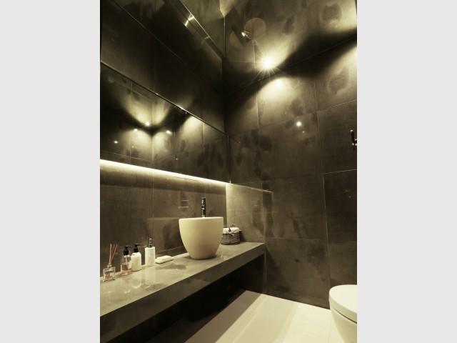 Une salle de bains entièrement habillée de marbre  - Un rez-de-jardin aussi lumineux qu'une maison