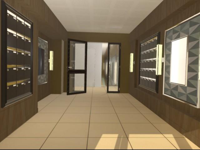 Hall d'entrée et couloirs modélisés en 3D