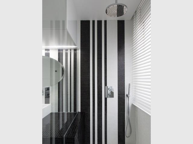 Une douche tout en transparence pour agrandir l'espace - Une salle de bains graphique chic