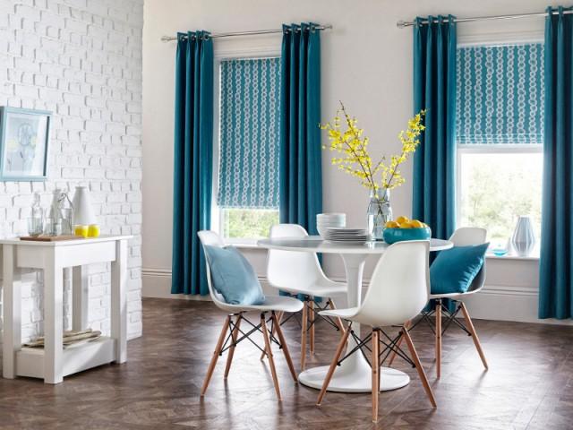 Duo de rideaux bleu turquoise