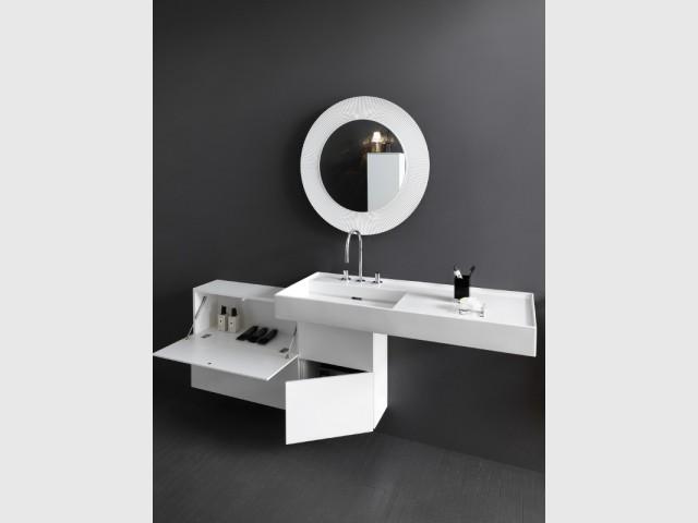 Miroir rond blanc à large bord