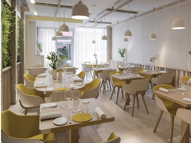 Donner du volume grâce à une touche de couleur - Restaurant Le Prairial, à Lyon