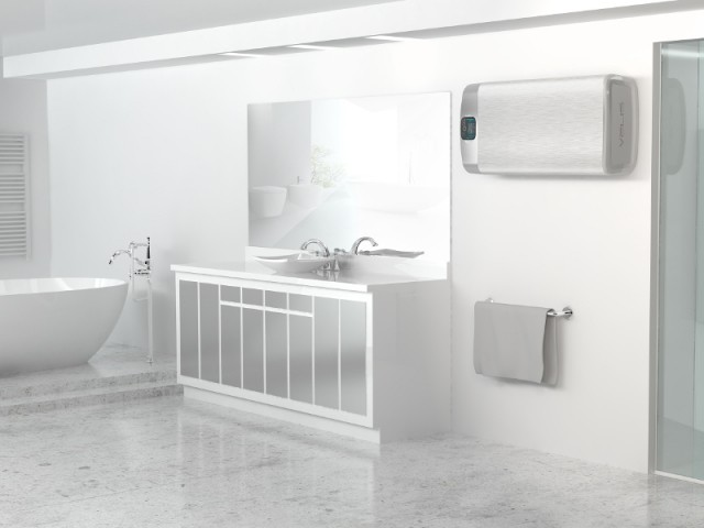 Un chauffe-eau finition brossée totalement fondu dans le décor - Un chauffe-eau caché... dans une salle de bains