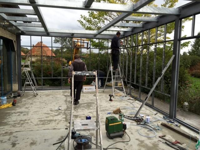 Construction de la véranda acier