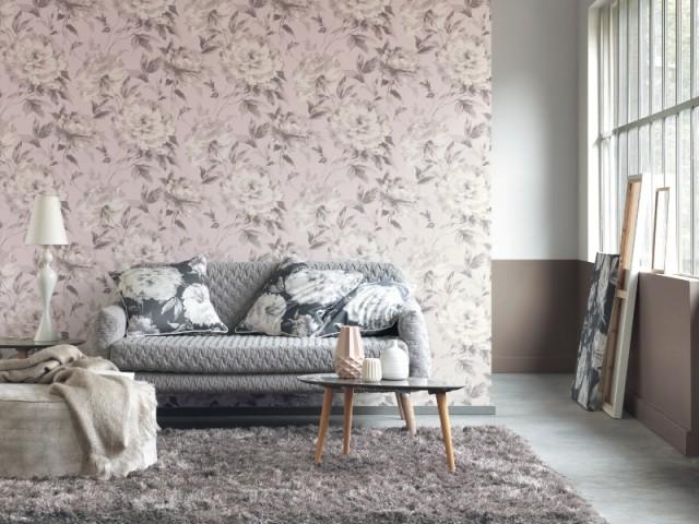 Casadeco/Rendez-vous-fleur-grise-rose