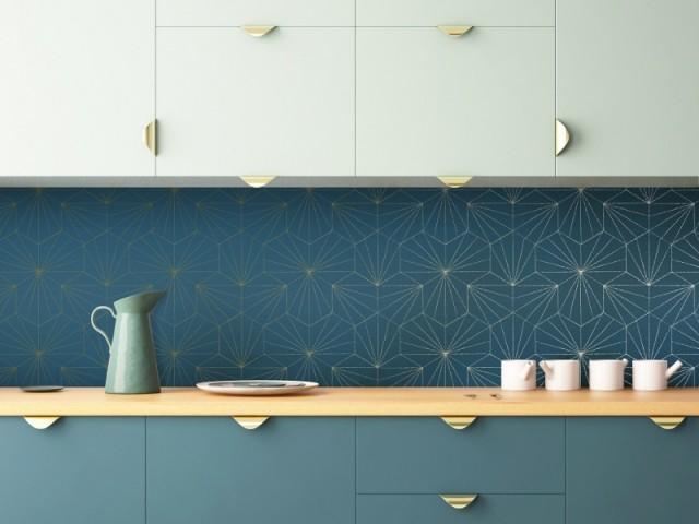 Papier peint Tiles Bleu Petro Doré Mock Up