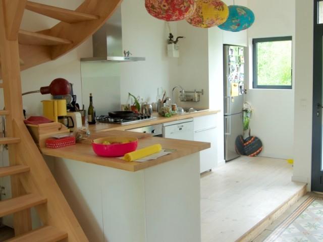 La cuisine a été surélevée et agrandit