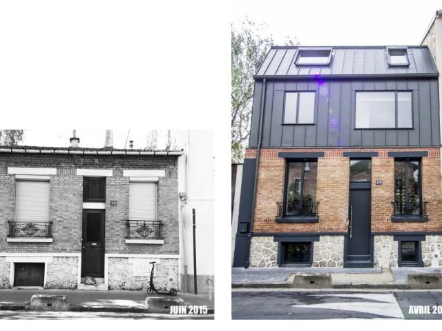 Surélévation zinc sur petite maison en brique