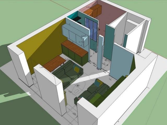 Schéma 3D de l'appartement Plume de paon