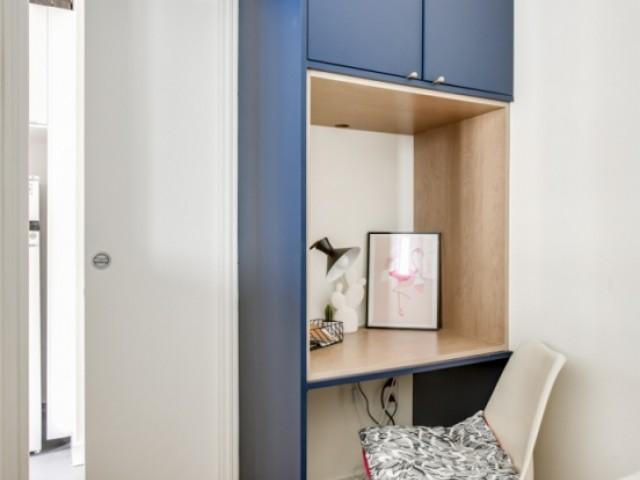 Malgré sa taille, la chambre comporte un bureau