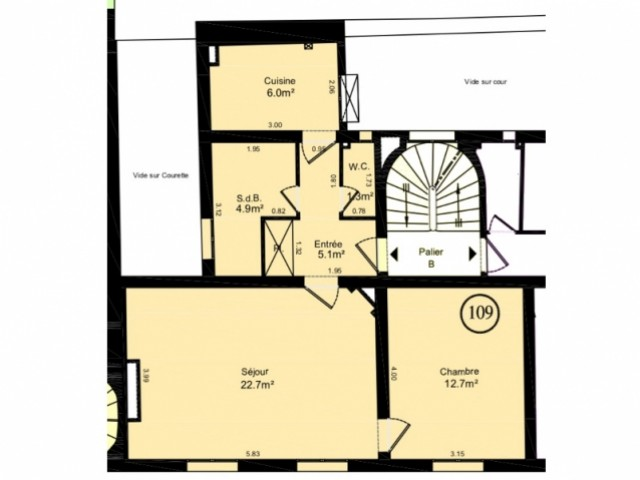 Plan de l'appartement avant l'intervention de l'architecte