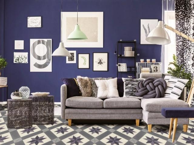 Charmant Bleu Foncé Presque Violet Dans Un Salon Végétal