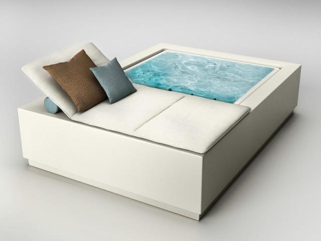 Le produit mixe une piscine avec un espace détente