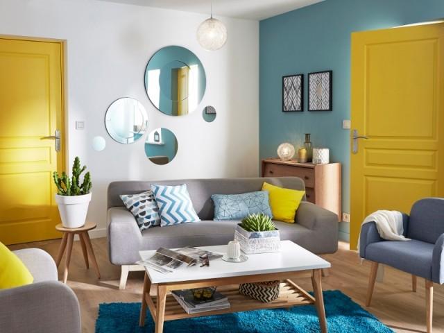 Du jaune et du bleu pour une ambiance rayonnante  - Leroy Merlin