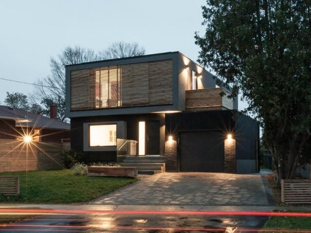 Flipped House, la maison aux espaces inversés, vue de nuit