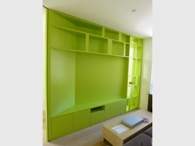 Même l'espace télé est recouvert de vert