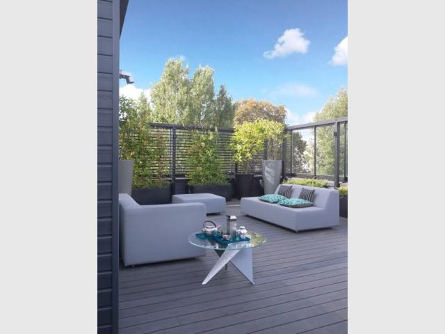 Une terrasse de 150 m2 au dernier étage du triplex