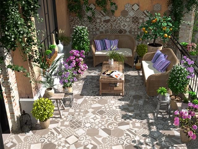 10 id es de carrelage original pour transformer sa terrasse. Black Bedroom Furniture Sets. Home Design Ideas